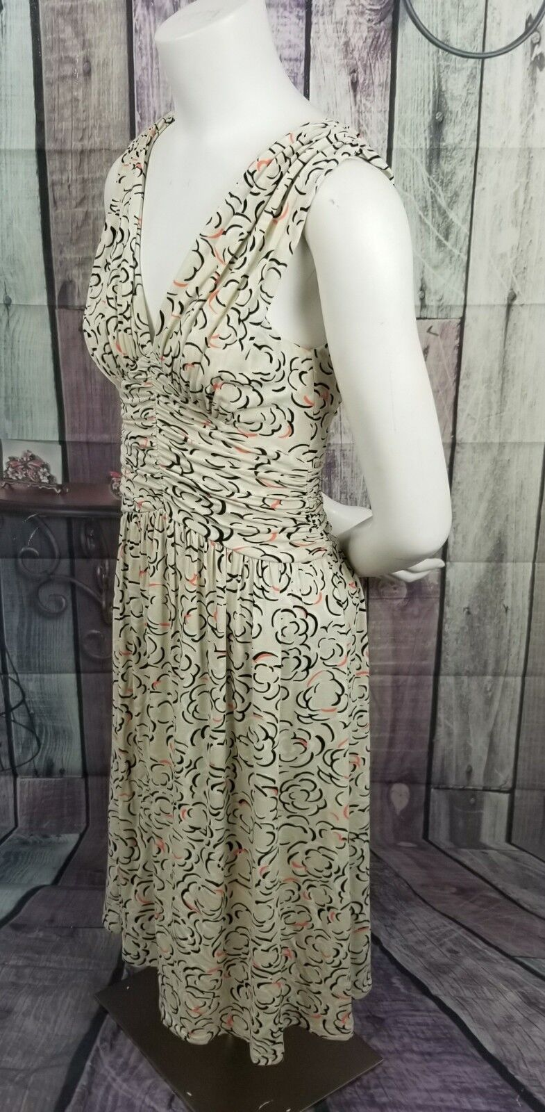 Deletta XS Anthropologie Cloudpink Cloudpink Cloudpink Cream Ruched Floral pink Jersey Knit Dress ee9a77