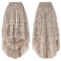 Women Retro Gothic Victorian Steampunk Skirt Ruffled Vintage Party Dress Swing