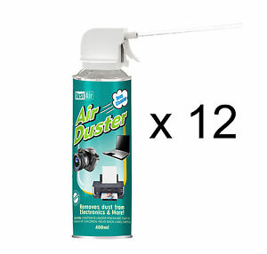 12 X 400ml Compressed Air Duster Cleaner Spray Can Canned