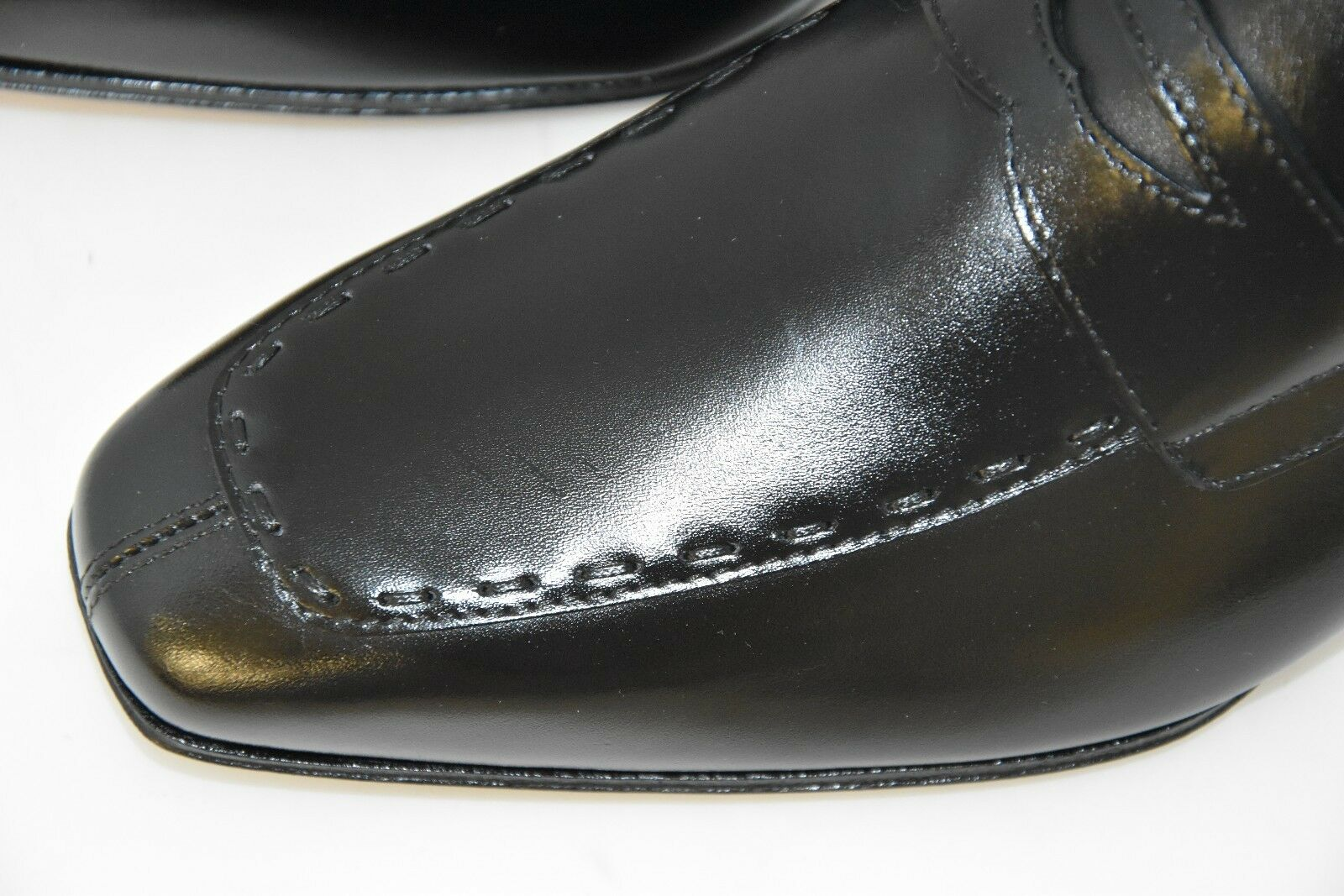 MAN-6½eu-7½us-PENNY LOAFER-MOCASSINO-BLACK CALF-LEATHER SOLE-SUOLA CUOIO Scarpe da uomo classiche economiche e belle