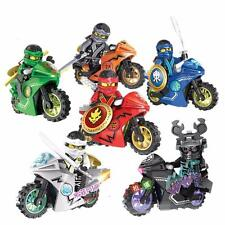 6 Sets Phantom Ninja Ninjago Minifigures Toy Motorcycle Chariot Blocks Fast Ship