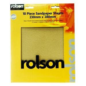 10 Feuilles Rolson Variés Papier De Verre 2coarse 3medium 3fine 2extra Fine -