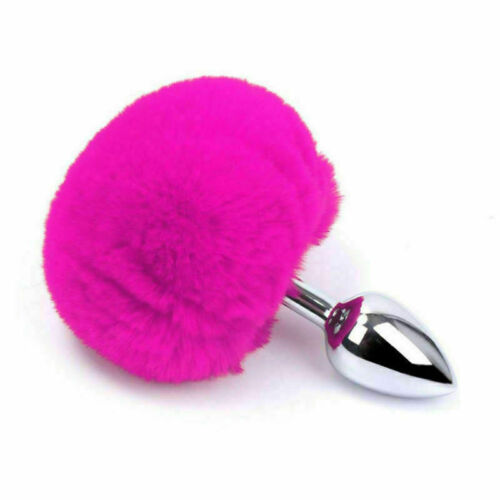 Fluffy Bunny Rabbit Tail Plug Insert Slave Tail with Metal Animal Cosplay Game
