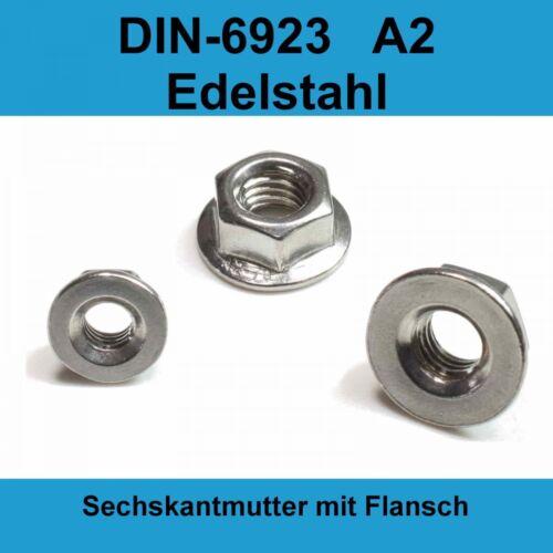 M6 DIN 6923 A2 V2A Edelstahl Rostfrei Sechskantmuttern mit Flansch Bund Muttern