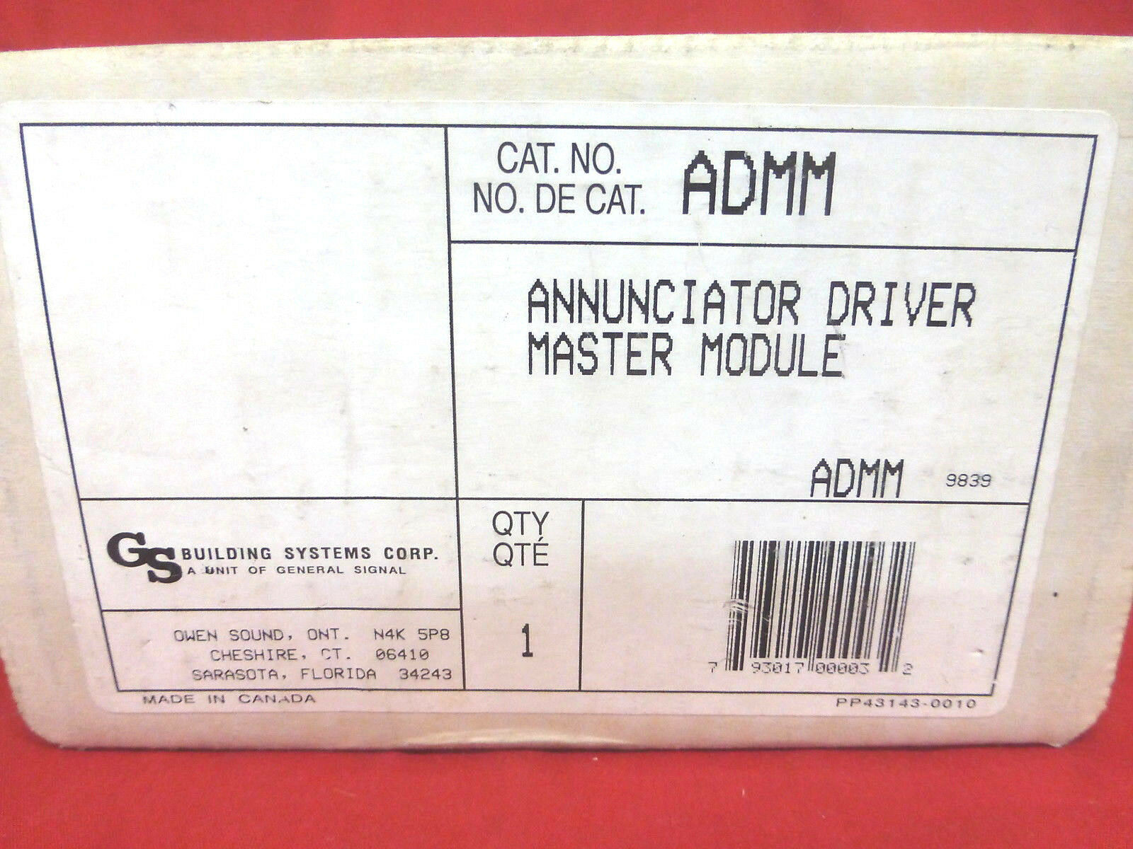 GENERAL SIGNAL ADMM, 130279, 140279 NEW ANNUNCIATOR DRIVER MASTER MODULE (2E2)