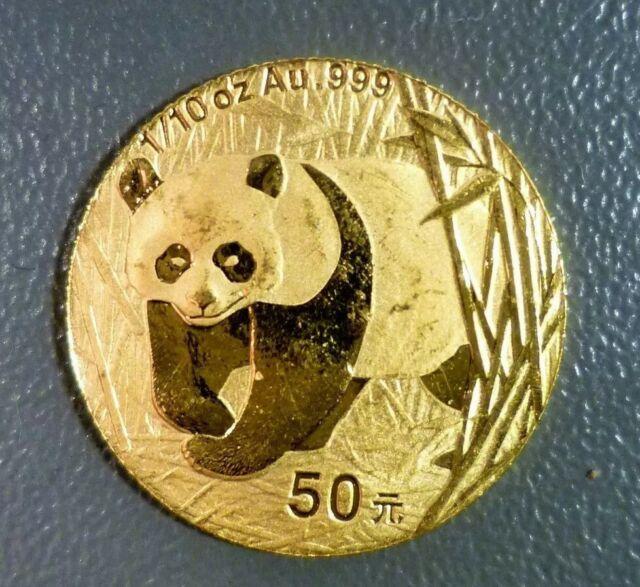 2002 1/10 oz Gold China Chinese Panda Coin 50 Yuan Key Date