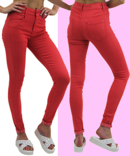 Femmes Femmes Coupe Skinny Couleur Jeans Stretch Neuf Filles Jeggings Taille 8-16