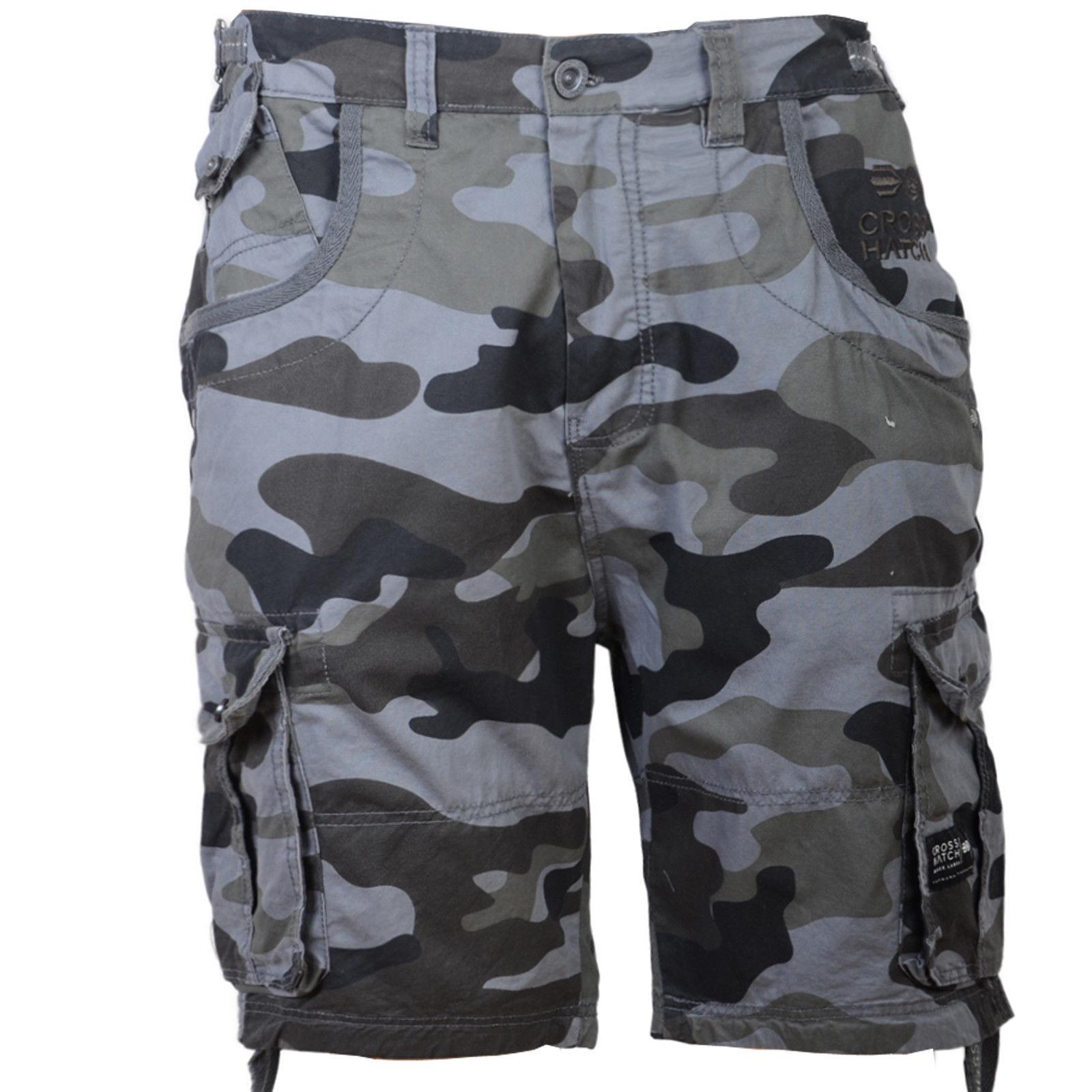 hommes Crosshatch Cargo / COMBAT SHORT camouflage ryehill - - - Noir ca5592