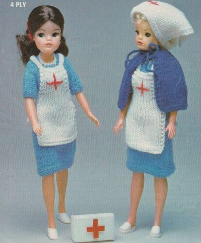 105 Muñeca Vintage Tejer patrón Moda Sindy Barbie adolescente 4 capas enfermera