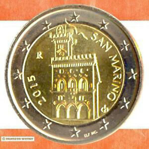 Kursmünzen San Marino 2 Euro Münze 2015 Palazzo Palast Rathaus Zwei