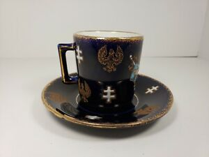 Antique-K-et-G-Keller-amp-Guerin-Luneville-France-Joan-of-Arc-Cup-and-Saucer-RARE