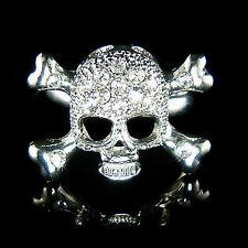 w Swarovski Crystal ~SKULL crossbone HIP HOP Death Devil gothic Cross bones Ring