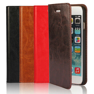Real Genuine Cowhdie Leather Stand Book Flip Wallet Hard Case Cover For Phone