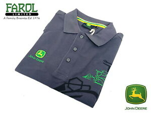 Genuine-John-Deere-Polo-Shirt-With-Grey-Combine-Graphic-Mens-Adults-Gents