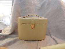 Vintage Beige Vinyl Travel Bag / Vanity Carrying Case 8 x 6 x 5 Makeup Case