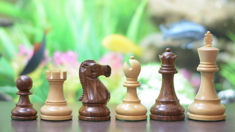 Reykjavik Staunton Series Weighted ChessPieces in Sheesham &Box Wood - 3.7  King