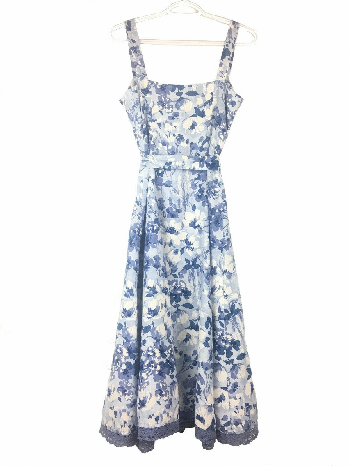 Marks and Spencer Per Una 100% Linen Blue Floral Sweetheart Midi Dress Size 8R