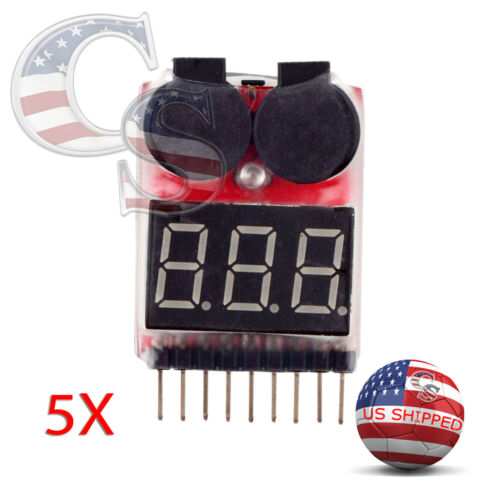 5X RC Lipo Battery Low Voltage Alarm 1S-8S Buzzer Indicator Checker Tester LED