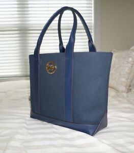 cc781dc51e2b NWT Michael Kors FULTON Medium Tote Bag Navy Blue Canvas 38S8XFCT6C ...