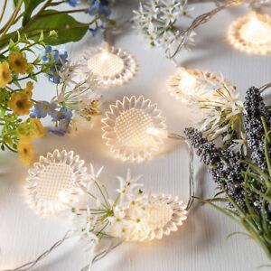 10er Led Sonnenblumen Lichterkette Batterie Blumen Deko Lichterkette
