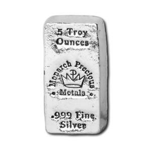 1  -  5 oz. 999 Fine Silver Bar - Monarch - Hand Poured - Uncirculated