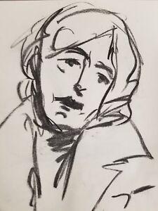 JOSE-TRUJILLO-Artist-ORIGINAL-CHARCOAL-DRAWING-MODERN-OLDER-WOMAN-PORTRAIT-ART