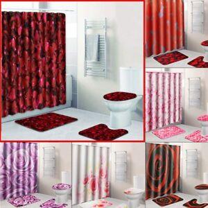 4Pcs-Waterproof-Bathroom-Shower-Curtain-Bath-Mat-Non-Slip-Rug-Toilet-Cover-Pad
