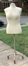 Vintage Dress Form Rolling Iron Stand Tailoring Female Body
