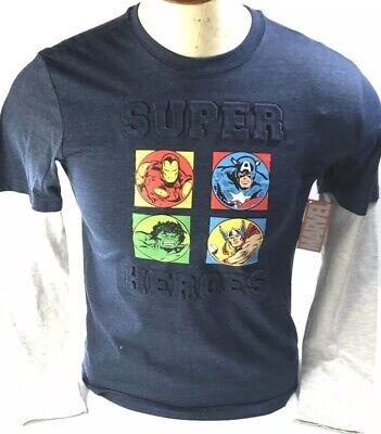 Phineas and Ferb Boys Mission Marvel T-Shirt New Blue Thor Hulk Iron Man Venom