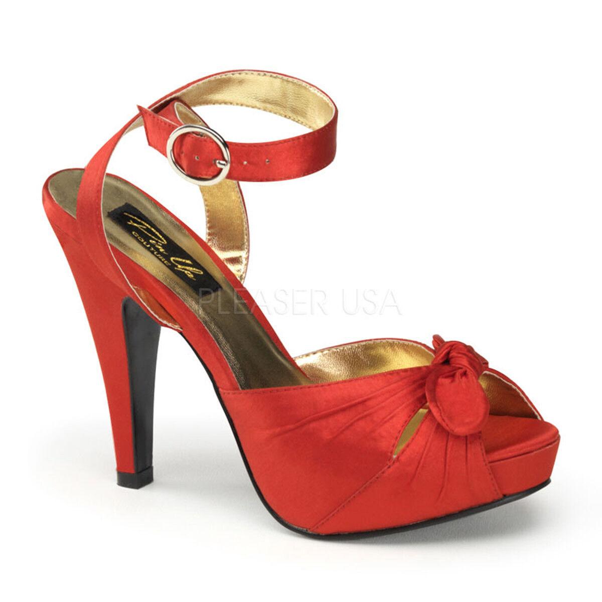 Pin Pin Pin Up Couture Bettie - 04 plataformas y Correa en el tobillo de Satén Rojo Cinta Zapatos De Tacón Puntera Abierta  ordenar ahora