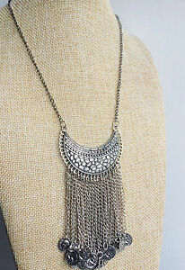 Silver-Boho-Chic-Vintage-Style-Bohemian-Mexican-Gypsy-Tibet-Tassel-Necklace