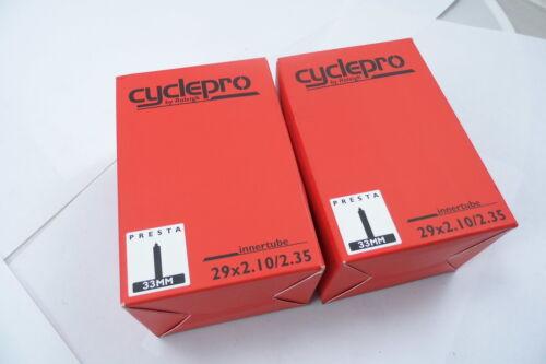 2 x Cyclepro BICI MTB Camere D'aria 29 x 2.10 - 2.35 Valvola Presta