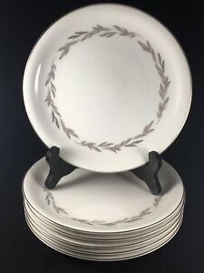 Noritake-China-Japan-6041-Graywood-8-034-Luncheon-Salad-Plates-Set-Of-6