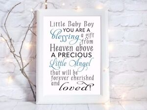 Baby Boy Blessing Birth Quote A4 Glossy Print Picture Gift Wall Art
