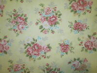 Antique Flowers Roses Vintage Flower Rose Yellow Cotton Fabric Bthy