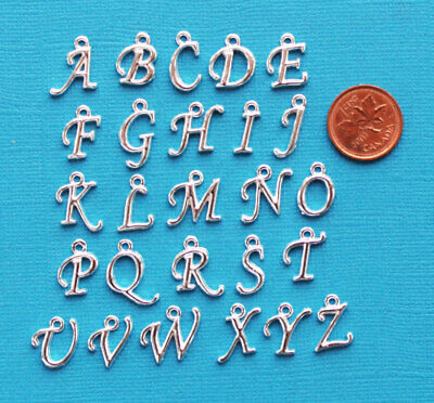 Script Alphabet Letter Charms Silver Tone Full Alphabet 26 Charms ALPHA1900