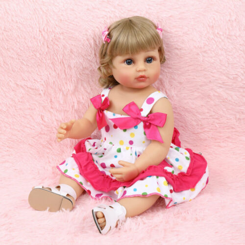 NEW  All-Plastic Simulation Doll 22 Inches Cute Polka Dot Skirt