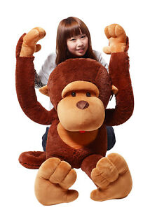 43 giant stuffed animal soft coffee monkey plush toy 110cm ebay. Black Bedroom Furniture Sets. Home Design Ideas