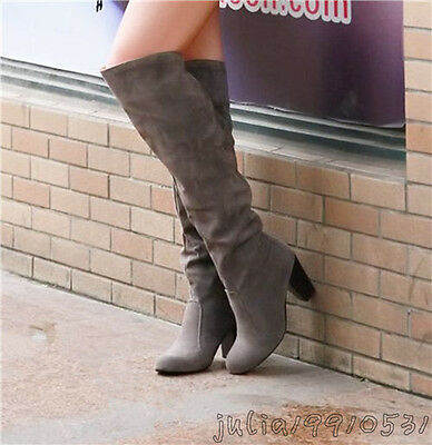 Fashion Classics Women's Thick High Heel Knee High Boots Shoes US All Size N001