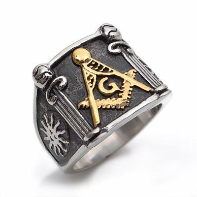 Stainless Steel Gold Black Silver Masonic Mens Ring Size 8 - 15 R377