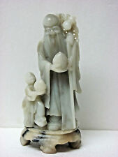 Fine Old Chinese Soapstone Carved Immortal Man and boy Figurine 6-5/8''