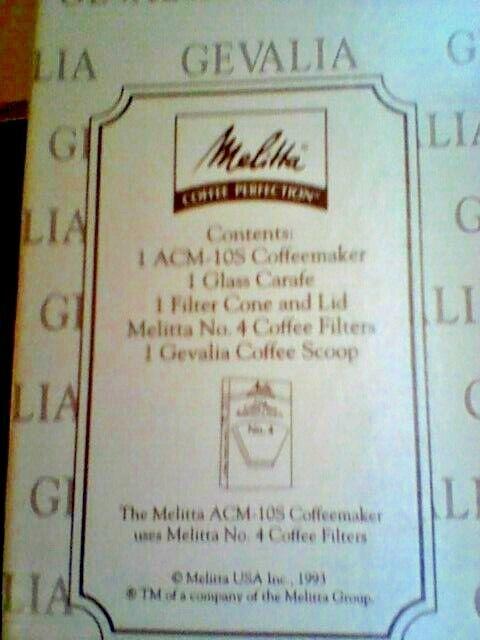 Melitta GEVALIA ACM-10S Cafetière à FILTRE 10 TASSE-prend   4 Filtres -