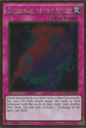 PGL2-EN066 1ST EDITION EXCHANGE OF THE SPIRIT GOLD RARE YU-GI-OH CARD