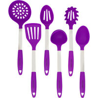 Cooking Utensil Set - Stainless Steel & Silicone Heat Resistant Kitchen Purple