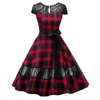 50'S 60'S ROCKABILLY DRESS Vintage Style Swing Pinup Retro Housewife Dress Plaid