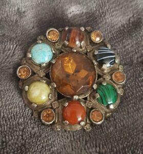 Vtg-Miracle-Brooch-Scottish-Celtic-Citrine-Amber-Turquoise-banded-Glass-Stones