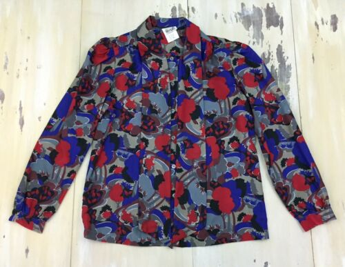 RHODA LEE Vtg 70s Abstract Print NeckTie Buttonup LS Shirt, Womens Sz 12