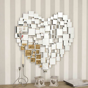 Large Beautiful Modern Heart Shape Venetian Big Wall Mirror 2ft8 80cm New 5055781807220 Ebay