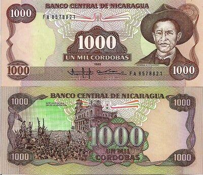 P-156b Original 1985 Nicaragua 1000 1,000 Cordobas Banknotes UNC