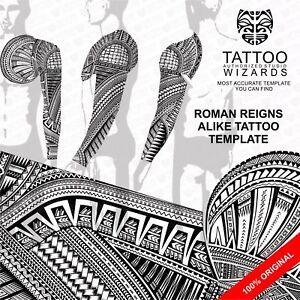 roman reigns alike tattoo stencil template ebay. Black Bedroom Furniture Sets. Home Design Ideas